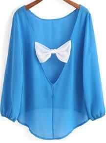 Blue Long Sleeve Bow Backless Dip Hem Blouse