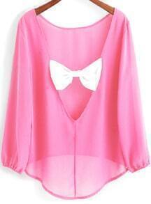 Pink Long Sleeve Bow Backless Dip Hem Blouse