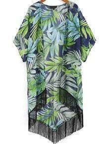 Green Leaves Print Tassel Chiffon Kimono
