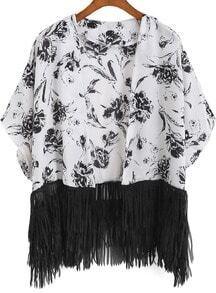 White Floral Tassel Chiffon Kimono