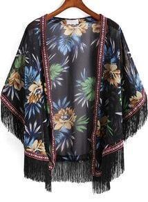 Black Floral Tassel Loose Kimono