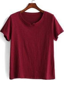 Wine Red Short Sleeve Loose Crop T-Shirt