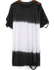 Black White Ripped Casual Loose T-Shirt