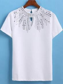 White Short Sleeve Hollow Bead T-Shirt