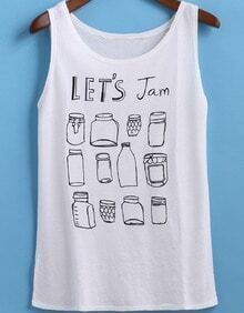 White Round Neck Bottles Print Tank Top
