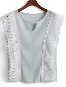 Green Lace Trims Hollow Tank Top