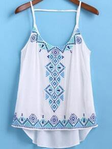 White Spaghetti Strap Embroidered Dip Hem Cami Top