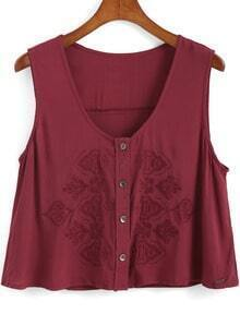 Wine Red V Neck Embroidered Tank Top