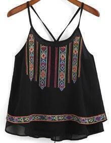 Black Spaghetti Strap Embroidered Chiffon Cami Top