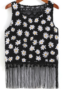 Black Round Neck Floral Tassel Tank Top