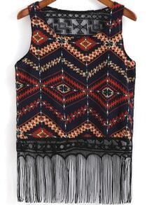 Black Round Neck Diamond Print Tassel Tank Top