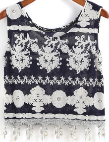 Navy Round Neck Bell Embellished Tank Top