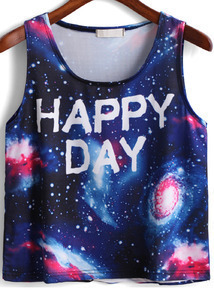 Blue Galaxy HAPPY DAY Print Tank Top