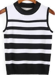 Black Round Neck Striped Knit Tank Top