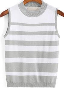 Grey Round Neck Striped Knit Tank Top