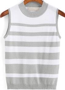 Grey Round Neck Striped Knit Tank Top