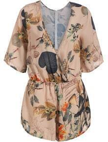 Apricot V Neck Leaves Print Loose Jumpsuit