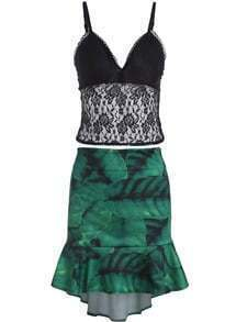 Black Spaghetti Strap Lace Top With Green Ruffle Skirt