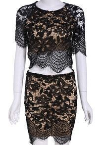 Black Short Sleeve Lace Crop Top With Bodycon Skirt