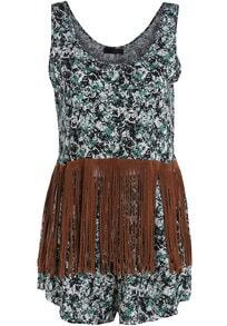 Black Green Scoop Neck Floral Tassel Top With Shorts