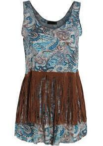 Blue Scoop Neck Cashew Print Tassel Top With Shorts