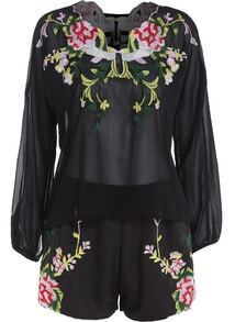 Black Long Sleeve Embroidered Top With Shorts