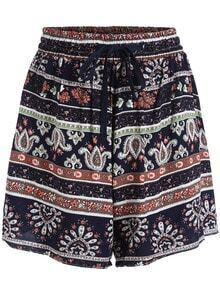 Navy Drawstring Waist Tribal Print Shorts