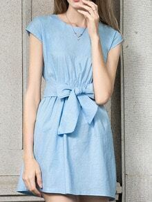 Blue Round Neck Short Sleeve Tie-waist Dress