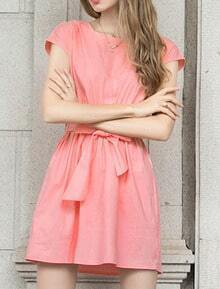 Pink Shirtwaist Round Neck Short Sleeve Tie-waist Dress