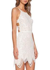 White Spaghetti Strap Backless Lace Bodycon Dress