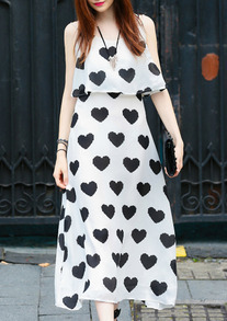 White Criss Cross Back Hearts Print Dress