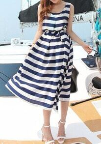 Navy White Sleeveless Striped Tie-waist Dress