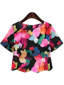 Black Round Neck Floral Crop Blouse