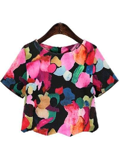 Black Round Neck Ikat Neat Awesome Floral Crop Blouse