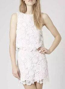 White Round Neck Floral Crochet Lace Top With Skirt