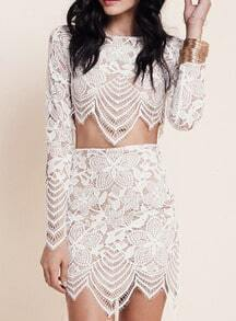 White Floral Crochet Lace Crop Top With Bodycon Skirt
