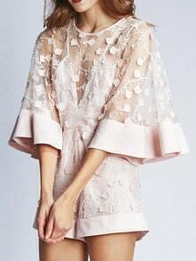 Pink Kimono Sleeve Sheer Mesh Loose Jumpsuit