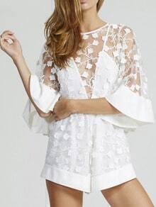 White Kimono Sleeve Sheer Mesh Loose Jumpsuit