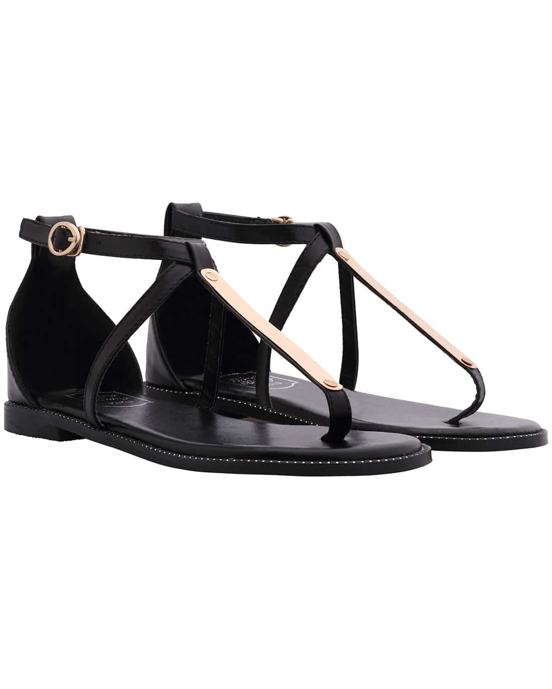 Black Buckle Strap Metal Embellished Sandals