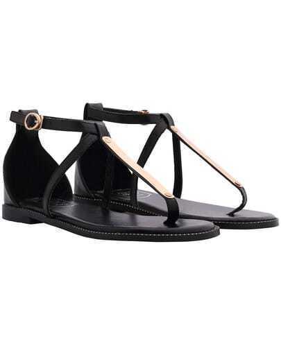 Black Buckle Strap Metal Embellished Sandals