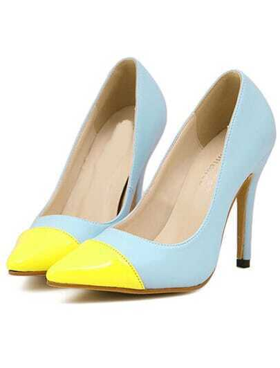 Blue Yellow High Heel Point Toe Pumps