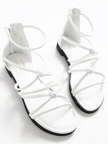 White Ankle Strap Knotted Sandals