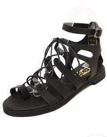 Black Bandage Buckle Strap Sandals
