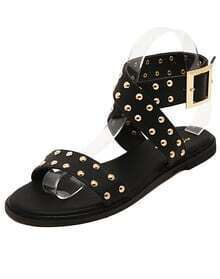 Black Buckle Strap Rivet PU Sandals