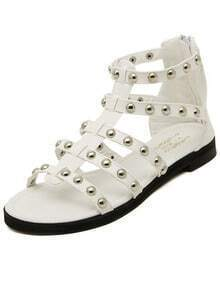 White Rivet Punk PU Sandals