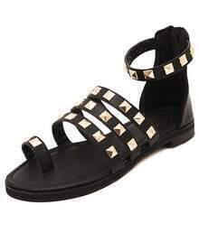 Black Rivet PU Flat Sandals