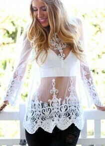 White Long Sleeve Embroidered Sheer Mesh Blouse