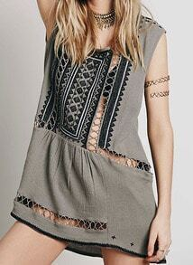 Grey Round Neck Hollow Embroidered Dress