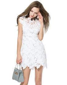 White Sleeveless Floral Crochet Slim Dress