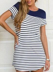 Blue White Raglan Round Neck Short Sleeve Striped Dress